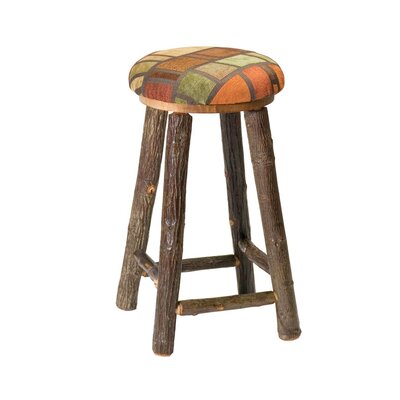 Hickory Round Barstool with Upholstered Seat