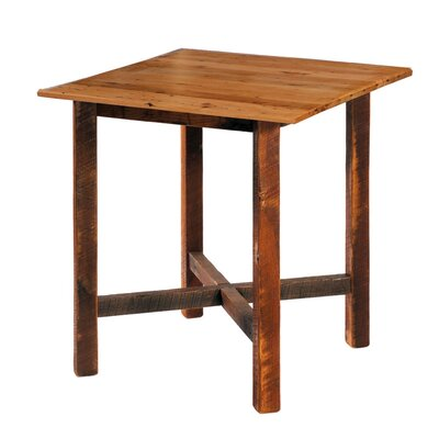 Fireside Lodge Traditional Cedar Log Square Pub Table and Barstool with Back