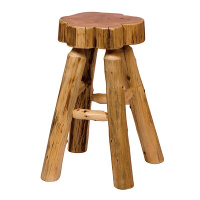 Traditional Cedar Log Slab Barstool with Tenoned Leg Rests