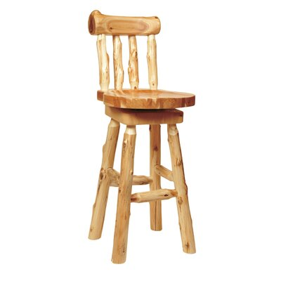 Fireside Lodge Traditional Cedar Log Barstool with Back