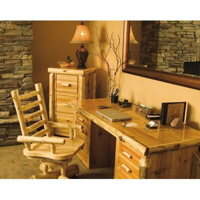Traditional Cedar Log Executive Writing Desk and Chair Set