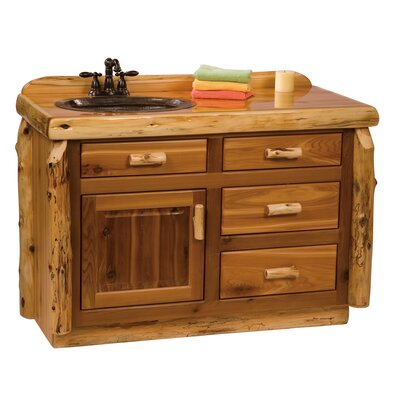 "Fireside Lodge Traditional Cedar Log 48"" Bathroom Sink Vanity"