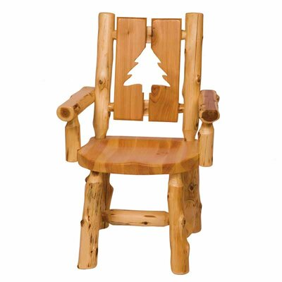 Cedar Counter Height Cut-Out Log Arm Chair