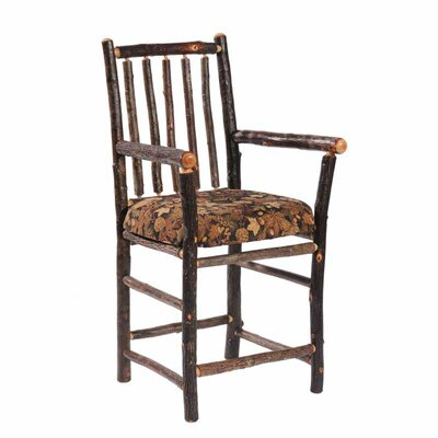 Fireside Lodge Hickory Counter Chair with Arms and Hickory Seat