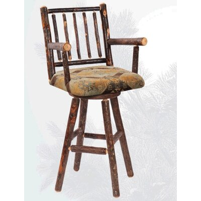 Fireside Lodge Hickory Swivel Counter Chair with Arms and Unupholstered Seat
