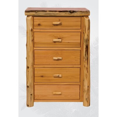 Traditional Cedar Log 5 Drawer Chest