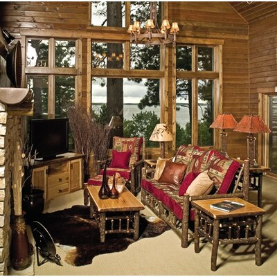 Fireside Lodge Hickory Chair and Ottoman
