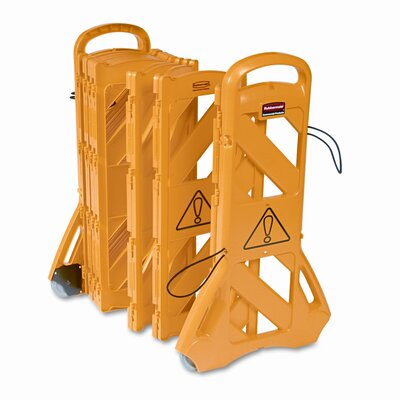 "Rubbermaid Portable Mobile Safety Barrier, Plastic, 1"" x 13 ft. x 40"", Yellow"