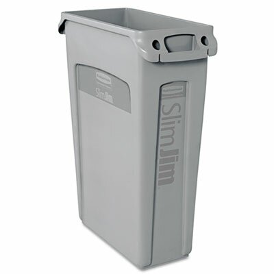 Rubbermaid Slim Jim Receptacle with Venting Channels, Rectangular, 23gal, Gray