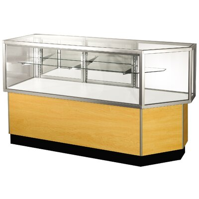 "Sturdy Store Displays Streamline 38"" x 56"" Half Vision Corner Combination Showcase with Panel Back"
