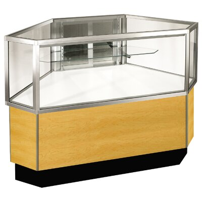 "Sturdy Store Displays Streamline 38"" x 51"" Half Vision Outside Corner Showcase with Panel Back"