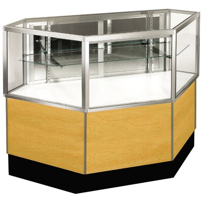 "Sturdy Store Displays Streamline 38"" x 34"" Half Vision Inside Corner Showcase with Panel Back"