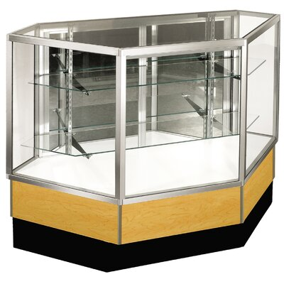"Sturdy Store Displays Streamline 38"" x 34"" Full Vision Inside Corner Showcase with Panel Back"