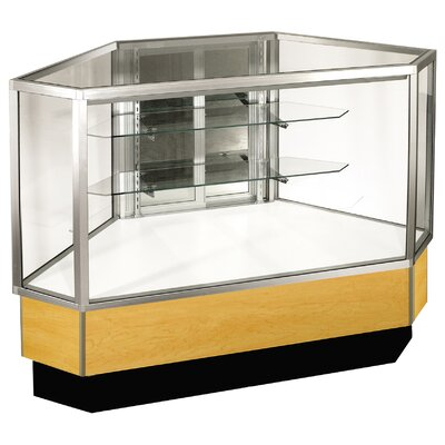 "Sturdy Store Displays Streamline 38"" x 51"" Full Vision Outside Corner Showcase with Panel Back"
