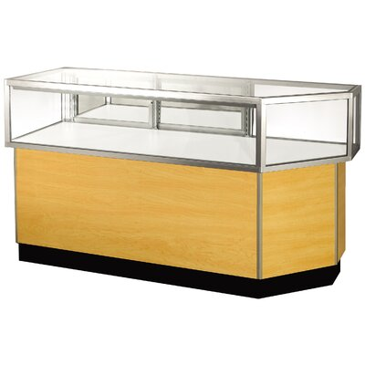 "Sturdy Store Displays Streamline 38"" x 56"" Jewelry Vision Corner Combination Showcase with Panel Back"