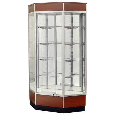 "Sturdy Store Displays Streamline 34"" x 18"" Front Opening Inside Corner Trophy Case with Mirror Back"