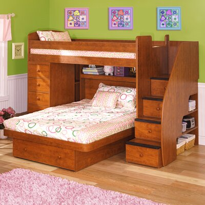 Berg Furniture Sierra Twin over Full L-Shaped Bunk Bed with Chest & Stairs