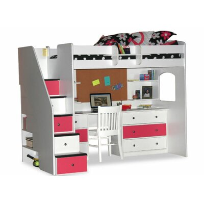 Utica twin dorm loft bed with desk and storage wayfair Kids loft bed with desk