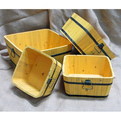 Square Barrel Pot Planter (Set of 4)