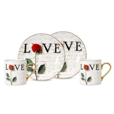 PS Collection Love Letters 3 oz. Espresso Cup and Saucer