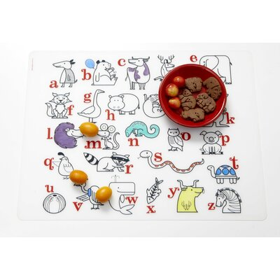 Modern-Twist Alaphabet Animals Placemat  in Red / Black