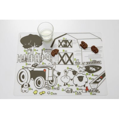 Modern-Twist Farm Buddies Placemat in Lime / Taupe