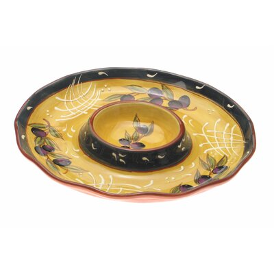 Certified International French Olives 2 Piece Round Chip and Dip Set
