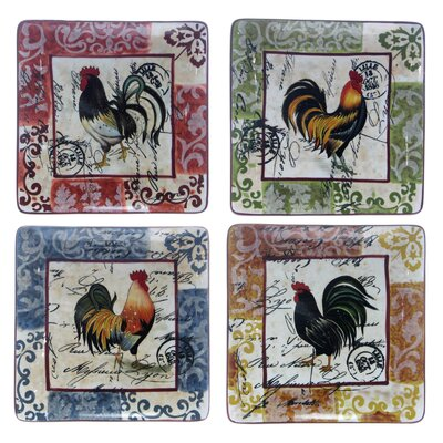 Certified International Lille Rooster by Geoffrey Allen Dinner Plate (Set of 4)