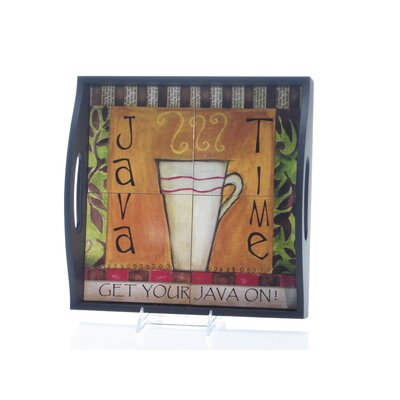 Certified International Java Time by Lisa Kaus 4-Tile Square Serving Tray with Handles