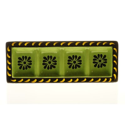 "Certified International Mi Casa 18.75"" x 7"" 4-Section Rectangular Relish Tray"