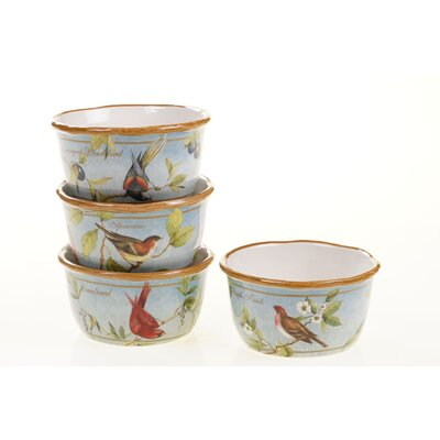 "Certified International Botanical Birds 5.5"" x 3"" Ice Cream Bowl (Set of 4)"