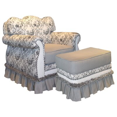 Toile Black Adult Empire Glider Rocker and Ottoman