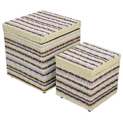 Jeffan Funstripes Misty Square Storage Stools (Set of 2)