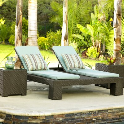 North Cape International Melrose Double Adjustable Chaise Lounge with End Tables