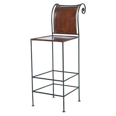"William Sheppee 30"" Pub Leather and Iron Barstool"