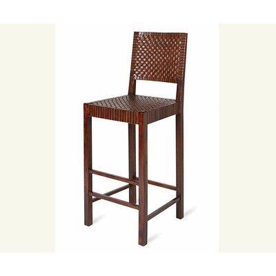 "William Sheppee Saddler 30"" Woven Leather Bar Stool in Walnut Stain"