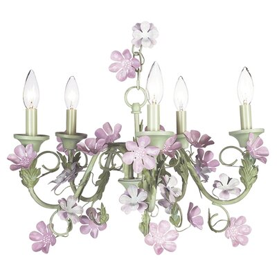 5 Light Leaf and Flower Chandelier