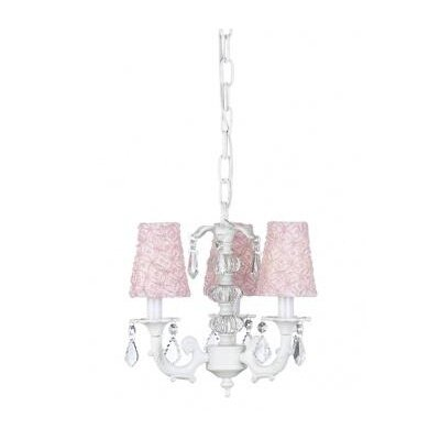 Stacked Glass Ball Chandelier with Pink Shade in White