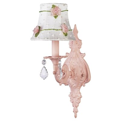 Jubilee Collection  Wall Sconce with White/Pink Net Flower Shade in Pink