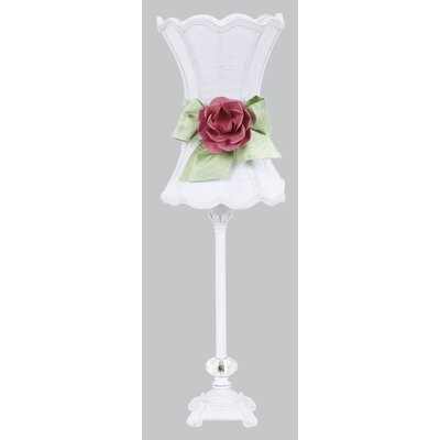 Jubilee Collection Scroll Glass Ball Table Lamp with Scallop Hourglass Shade / Modern Bow and Rose Magnet