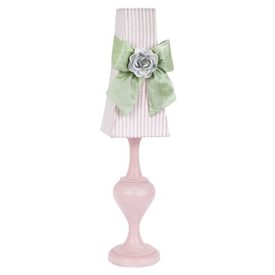 Jubilee Collection Curvature Large Table Lamp with Modern Sash and Rose Magnet on Base