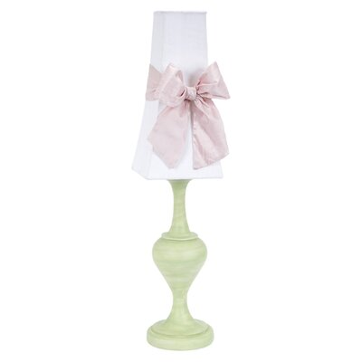 Jubilee Collection Curvature Large Table Lamp with White Tower Shade and Pink Bow on Base