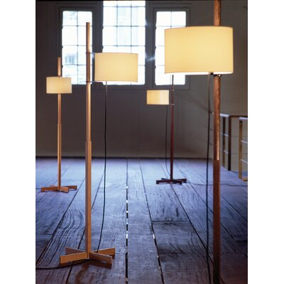 Santa & Cole TMM Walnut Floor Lamp with Parchment Shade