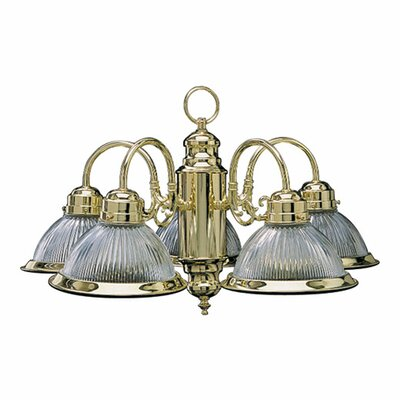 Quorum 5 Light Chandelier with Dome Shape Ribbed Glass