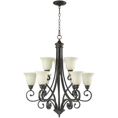 Quorum Bryant 9 Light Chandelier with Scavo Glass Shade