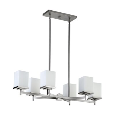 Delta 6 Light Kitchen Island Light in Satin Nickel