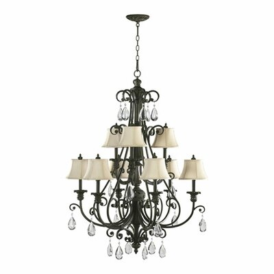 Quorum Fulton 9 Light Chandelier with Cream Shade