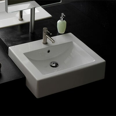 Semi Recessed Single Hole Bathroom Sink - Art. 8007/D