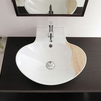 Scarabeo by Nameeks Zefiro 50/R Mensola Wall Mounted or Above Counter Bathroom Sink in White