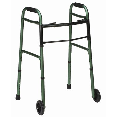 Mabis Healthcare, Inc. Button Release Aluminum Folding Walker with Non-Swivel Wheels